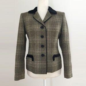 Kasper Tan Black Check Blazer Jacket Size 4P